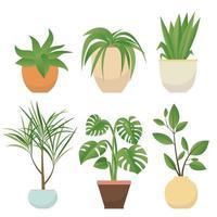 conjunto de vasos de plantas vetor