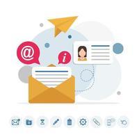 infográfico de mensagem de e-mail com ícones vetor
