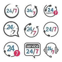 24 7 conjunto de ícones de serviço e suporte vetor