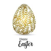 cartão de páscoa com ovo decorado com folha dourada