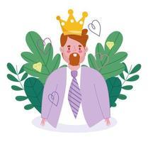 desenho de homem avatar com coroa vetor