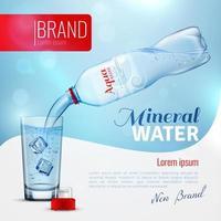 modelo de pôster realista de água mineral vetor