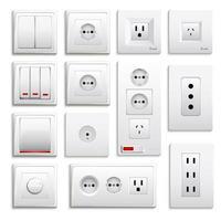 conjunto de tomadas e interruptores realistas vetor