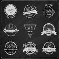 conjunto de logotipos vintage de bicicletas quadro-negro vetor