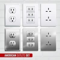 conjunto de lojas americanas realistas vetor