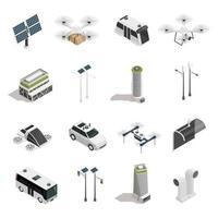 conjunto de ícones de tecnologia isométrica de cidade inteligente vetor