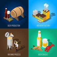 conjunto isométrico de ícones da indústria de cerveja vetor