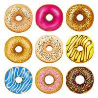 conjunto de donuts realistas vetor