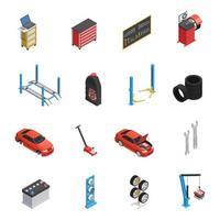 conjunto de ícones de serviço de reparo isométrico de carro vetor