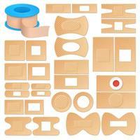 conjunto de bandagens adesivas realistas vetor