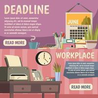 conjunto de modelos de banner de escritório e trabalho