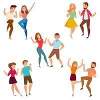 conjunto de casais de desenhos animados dançando vetor