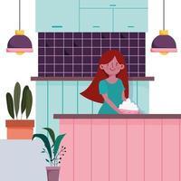 garota no balcão da cozinha