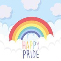 Arco-íris lgbti com nuvens de orgulho feliz