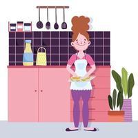 menina com fatias de frutas em uma tábua na cozinha