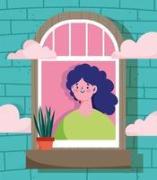 mulher olhando para a janela com planta em um vaso vetor