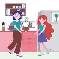 mulher e menina com legumes em uma tigela na cozinha vetor