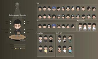 Conjunto de design de avatar de personagens masculinos e femininos