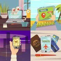 conjunto de serviços de reserva de viagens online
