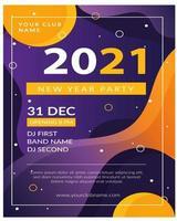 pôster editável para comemorar a festa de ano novo do clube vetor