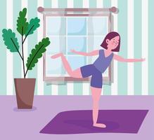 jovem praticando ioga no tapete vetor