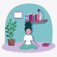 jovem mulher em pose de lótus de ioga vetor