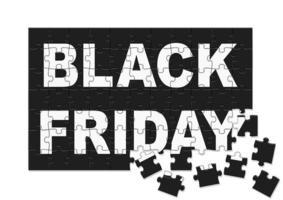 design de peças de quebra-cabeça black sexta-feira vetor