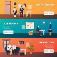 conjunto de banner de modelo de desemprego vetor