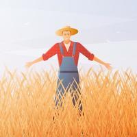 feliz agricultor em um campo de trigo vetor