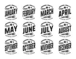 lendas nascem vários meses tipografia vintage vetor