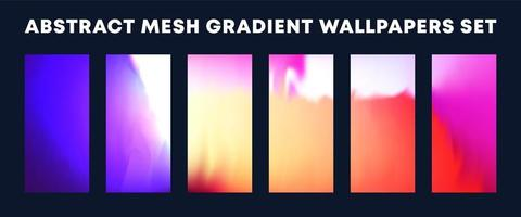 conjunto de papéis de parede de malha gradiente coloridos vetor