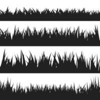 conjunto de silhuetas de grama negra vetor