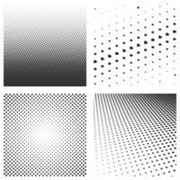 conjunto de padrões de meio-tom preto isolado em um branco