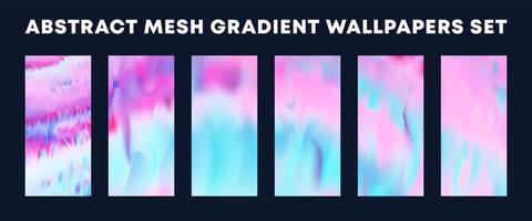 conjunto de papéis de parede de gradiente em malha rosa claro azul vetor