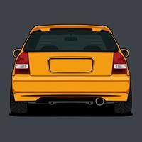 desenho amarelo vista traseira do carro vetor