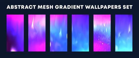conjunto de papéis de parede de gradiente de malha rosa azul abstrato