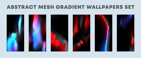 conjunto de papéis de parede de gradiente em malha vermelha, azul e preta