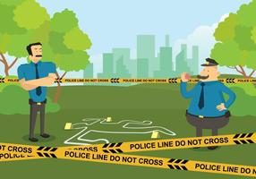 Linha de polícia livre na cena do crime Ilustração vetor
