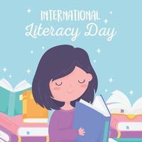 dia internacional da alfabetização. menina lendo livro e livros didáticos vetor