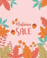 cartaz de venda de compras. árvore e folhas de fundo vetor