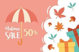 desconto, guarda-chuva, presentes e folhas de temporada vetor