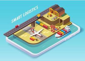 transporte de sistema de entrega inteligente com aplicativo de telefone vetor