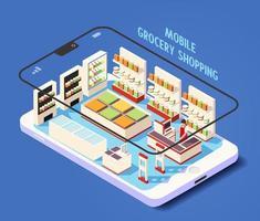 isométrica móvel loja de compras online de supermercado vetor