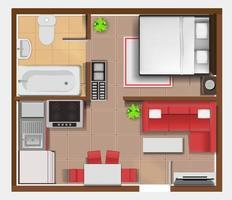 vista de cima plano detalhado do interior do apartamento vetor