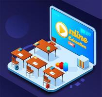 conceito isométrico de educação on-line vetor