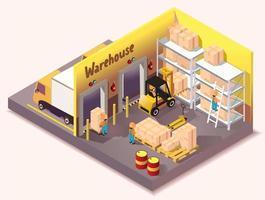 serviço de entrega logística de armazém isométrico vetor