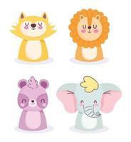 Ícones de desenhos animados de pequenos animais vetor