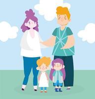 mãe pai filha e filho no parque vetor