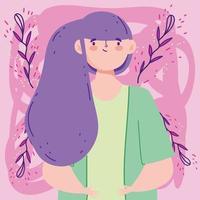 mulher com cabelo roxo vetor