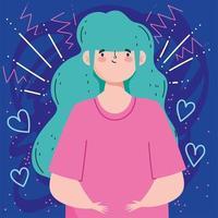 mulher com cabelo água-marinha vetor